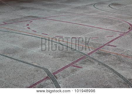 Pavement on sport yard