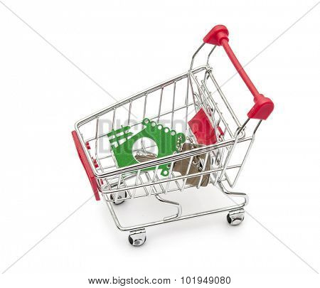 Key and house models in shopping cart on white background