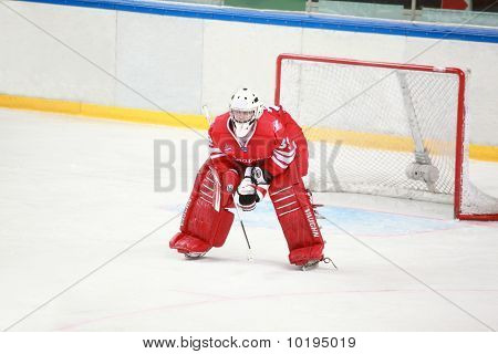 "Goalkeeper On  Hockey Match ""spartak""-""severstal"" On Ice Field In Sports Palace"