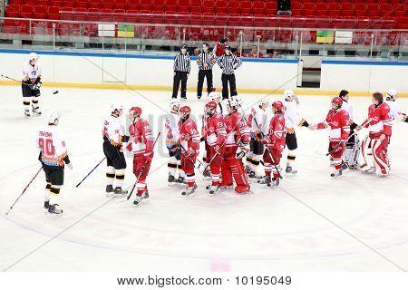 "Hockey Match ""spartak""-""severstal"" On Ice Field In Sports Palace ""sokolniki"""