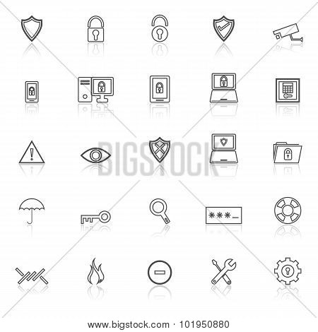 Security Line Icons With Reflect On White Background
