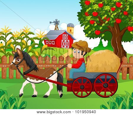 Cartoon little boy drive horse carriage