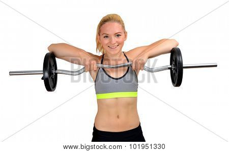 Girl exercise shoulder muscles with dumbbell on white background