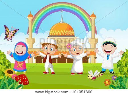 Cartoon happy kid muslim with rainbow