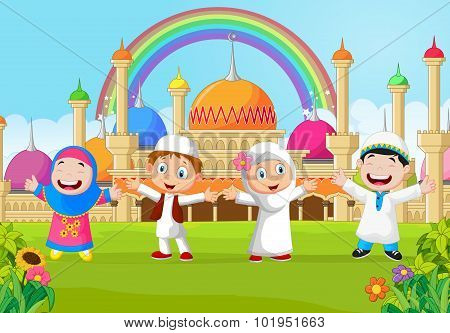 Cartoon little kid with the mosque