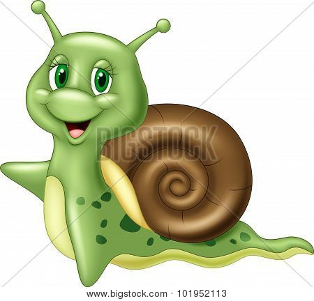 Cute cartoon snail waving