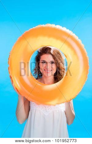 Posing with rubber ring