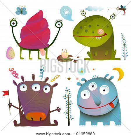 Fun Cute Little Monsters for Kids Design Colorful Collection
