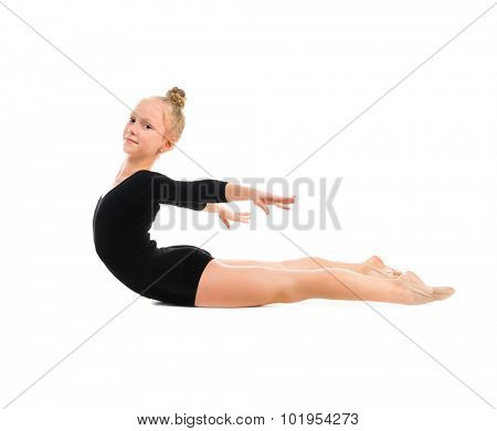 little gymnast doing exercise with skipping rope isolated on white background