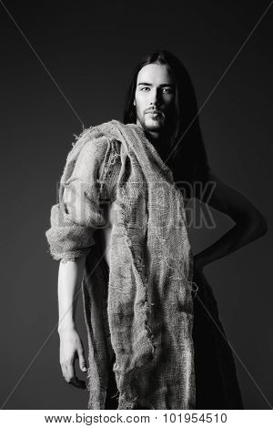 Religion and Christianity. Portrait of Jesus Christ of Nazareth. Black-and-white photo.