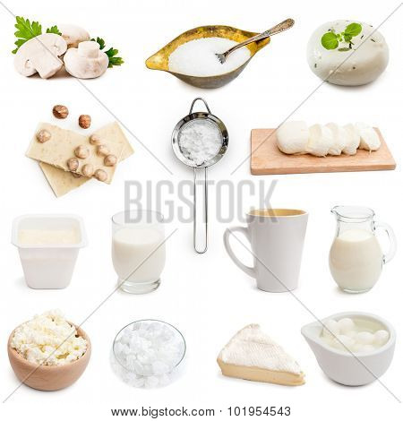 white color products collage isolated on white background