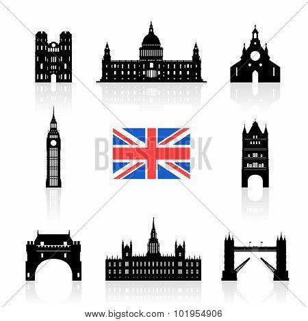 England Landmarks Icon Set.