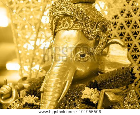 Golden Ganesh  Elephant God Statue In Hinduism Mythology  With Gem Of Crown And Jewel Decoration Gol