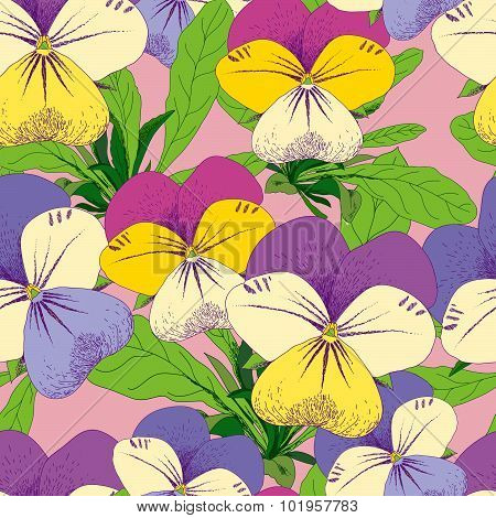 Seamless floral pansy pattern