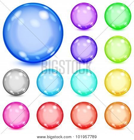 Set Of Multicolored Opaque Spheres