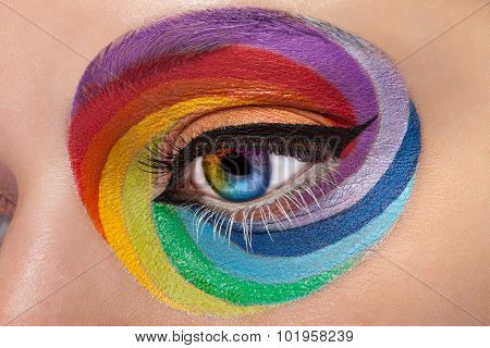 Close Up Eye With Artistic Rainbow Make Up