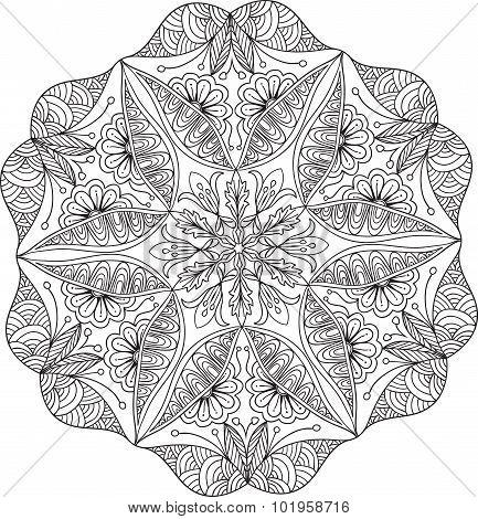 Hand Drawn Background. Mandala. Geometric Circle Element.