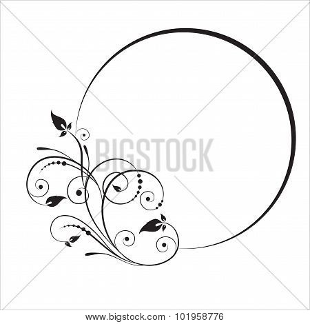 Decorative Branch With Oval Frame. Vector Illustration.
