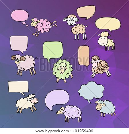 Sheep set with speech bubbles. Symbol 2015 Year, year of Sheep. Vector Illustration