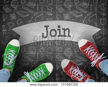 The word join and casual shoes against black background
