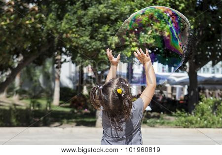 Playing In The City With A Huge Bubble