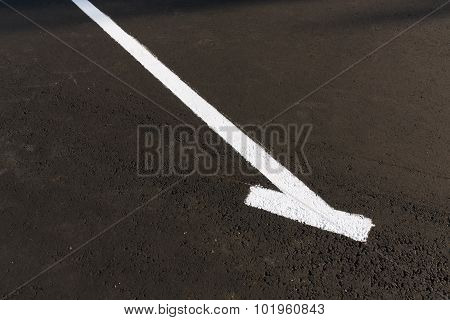 White Mark On Empty Parking Place.