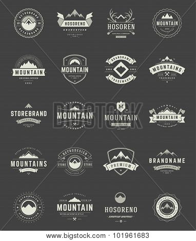 Set Mountains Logos, Badges and Labels