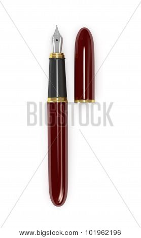 Fountain Pen Burgundy With Gold On A White Background.