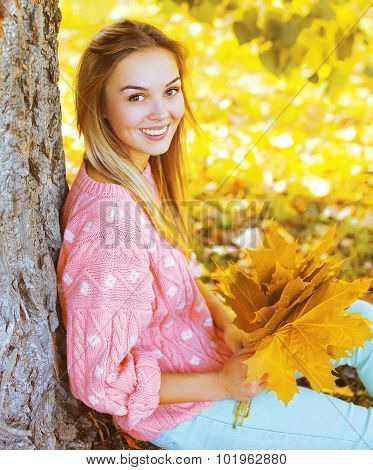 Portrait Beautiful Smiling Young Woman With Yellow Maple Leafs In Sunny Autumn Park