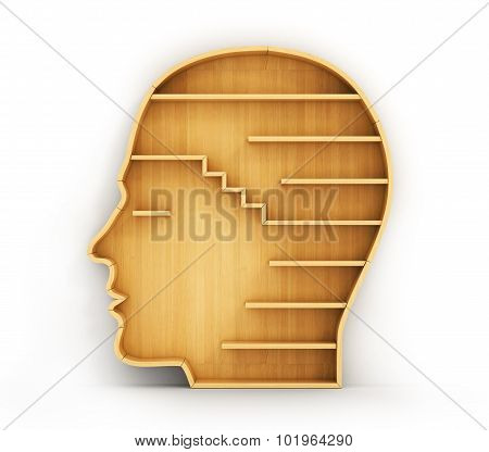 Concept Of Training. Empty Bookshelf In Form Of Man Head. Science About Human. Psychology. A Human H
