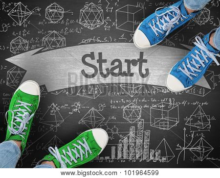 The word start and casual shoes against black background