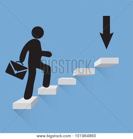 Businessman climbs the stairs of success blue background
