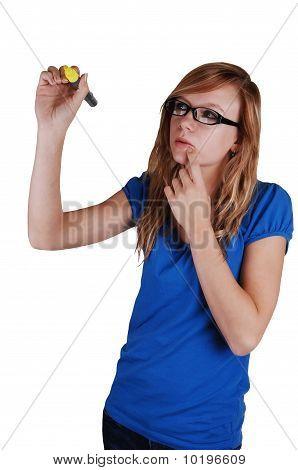 Girl Writing On Glass Wall.