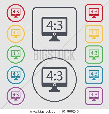 Aspect Ratio 4 3 Widescreen Tv Icon Sign. Symbols On The Round And Square Buttons With Frame. Vector