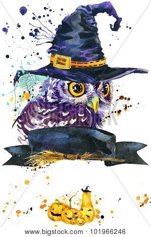 Halloween owl and witch hat. Watercolor illustration background for the holiday Halloween. watercolo