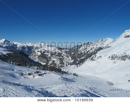 Ski Slopes In Grand Mountain Landscape