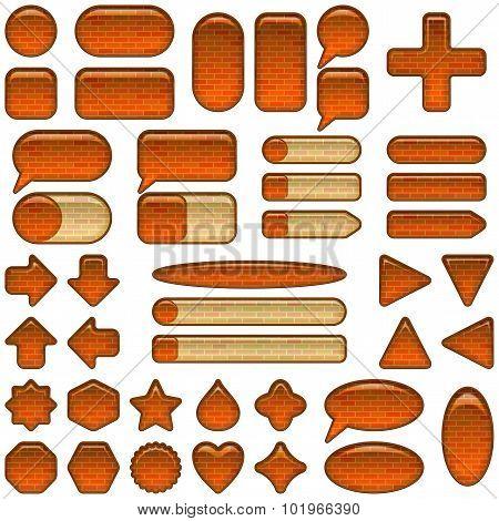 Brick glass buttons set