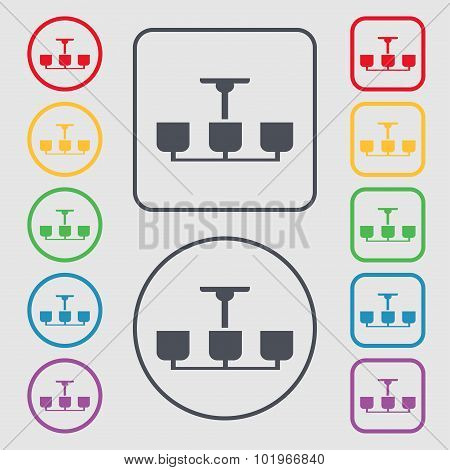 Chandelier Light Lamp Icon Sign. Symbols On The Round And Square Buttons With Frame. Vector