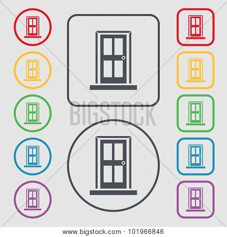 Door Icon Sign. Symbols On The Round And Square Buttons With Frame. Vector