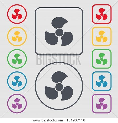 Fans, Propeller Icon Sign. Symbols On The Round And Square Buttons With Frame. Vector