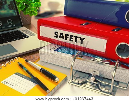 Red Office Folder with Inscription Safety.