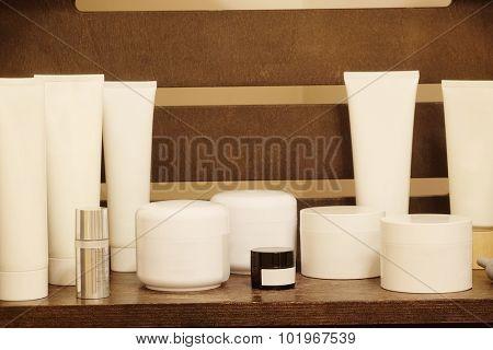 Cream and scrub in the Spa salon