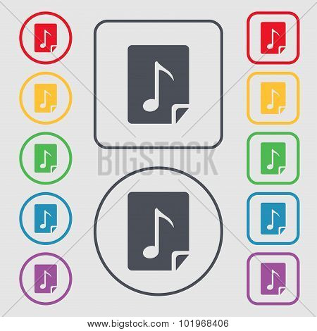 Audio, Mp3 File Icon Sign. Symbols On The Round And Square Buttons With Frame. Vector