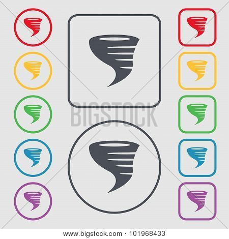 Tornado Icon. Symbols On The Round And Square Buttons With Frame. Vector
