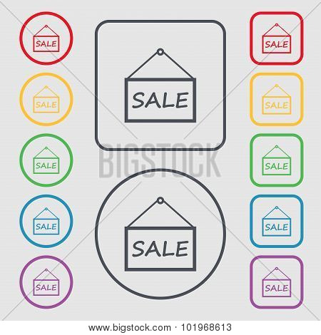 Sale Tag Icon Sign. Symbols On The Round And Square Buttons With Frame. Vector