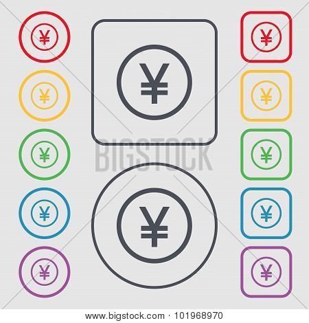 Japanese Yuan Icon Sign. Symbols On The Round And Square Buttons With Frame. Vector