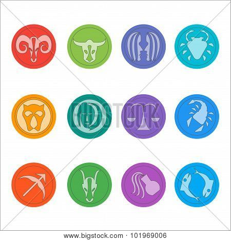 Zodiac symbols. Flat thin set of simple round zodiac icons on color background - for web and print.