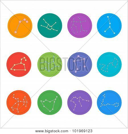 Zodiac constellations. Flat thin set of simple round zodiac constellations icons on color background