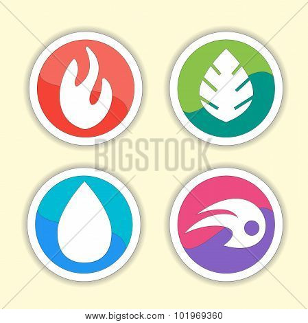 Natural elements -  vector icons set. Vector symbols of four elements -  fire, water, air, ground.