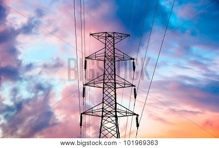 High Voltage Transmission Lines On Cloud And Sky, Sunrise Period